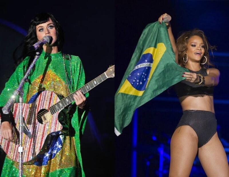 Katy Perry y Rihanna pusieron el lado sexy y fresa al festival de música.