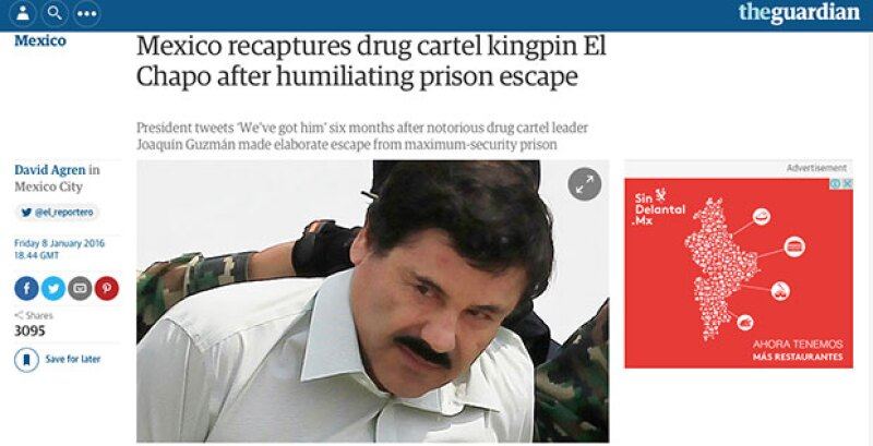 The Guardian recordó el último escape de 'El Chapo'.