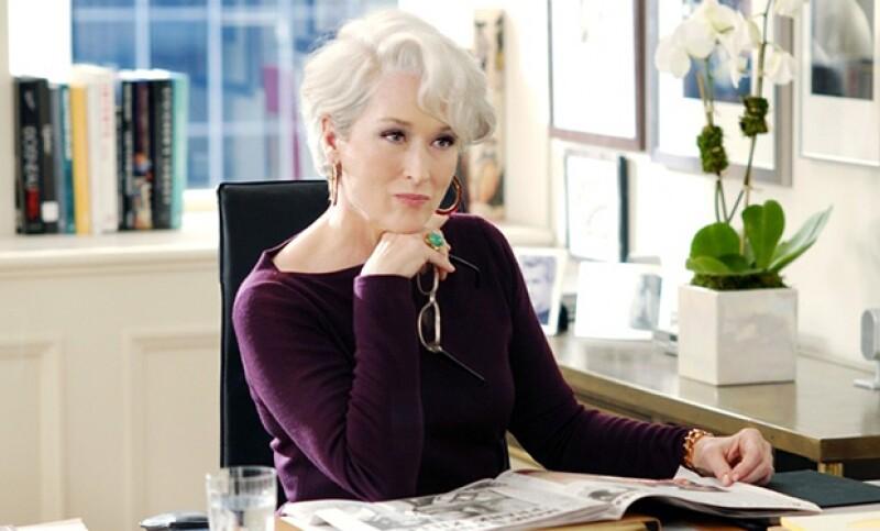 El pelo blanco de Miranda, fue idea de Meryl.