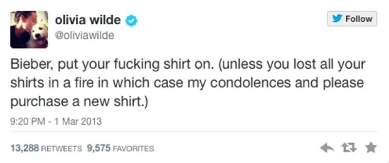La actriz hizo un comentario ante la frecuente inexistencia de las camisetas de Justin Bieber.