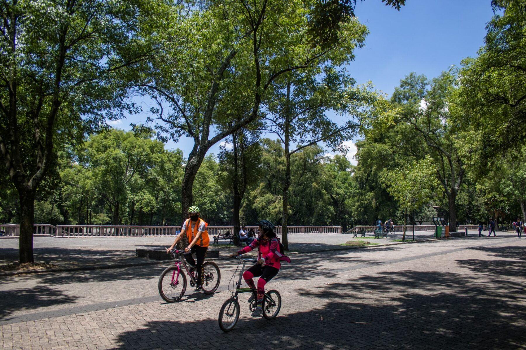 Familias se dan cita a la primera sección del Bosque de Chapultepec para tomar un paseo, aunque su funcionamiento no esta al ciento por ciento, ya se puede observar los típicos negocios de antojitos dando servicio.