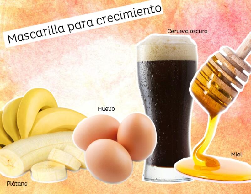 La mascarilla con plátano, huevo, miel y cerveza oscura, ayudará a hacer que el pelo crezca más rápido.