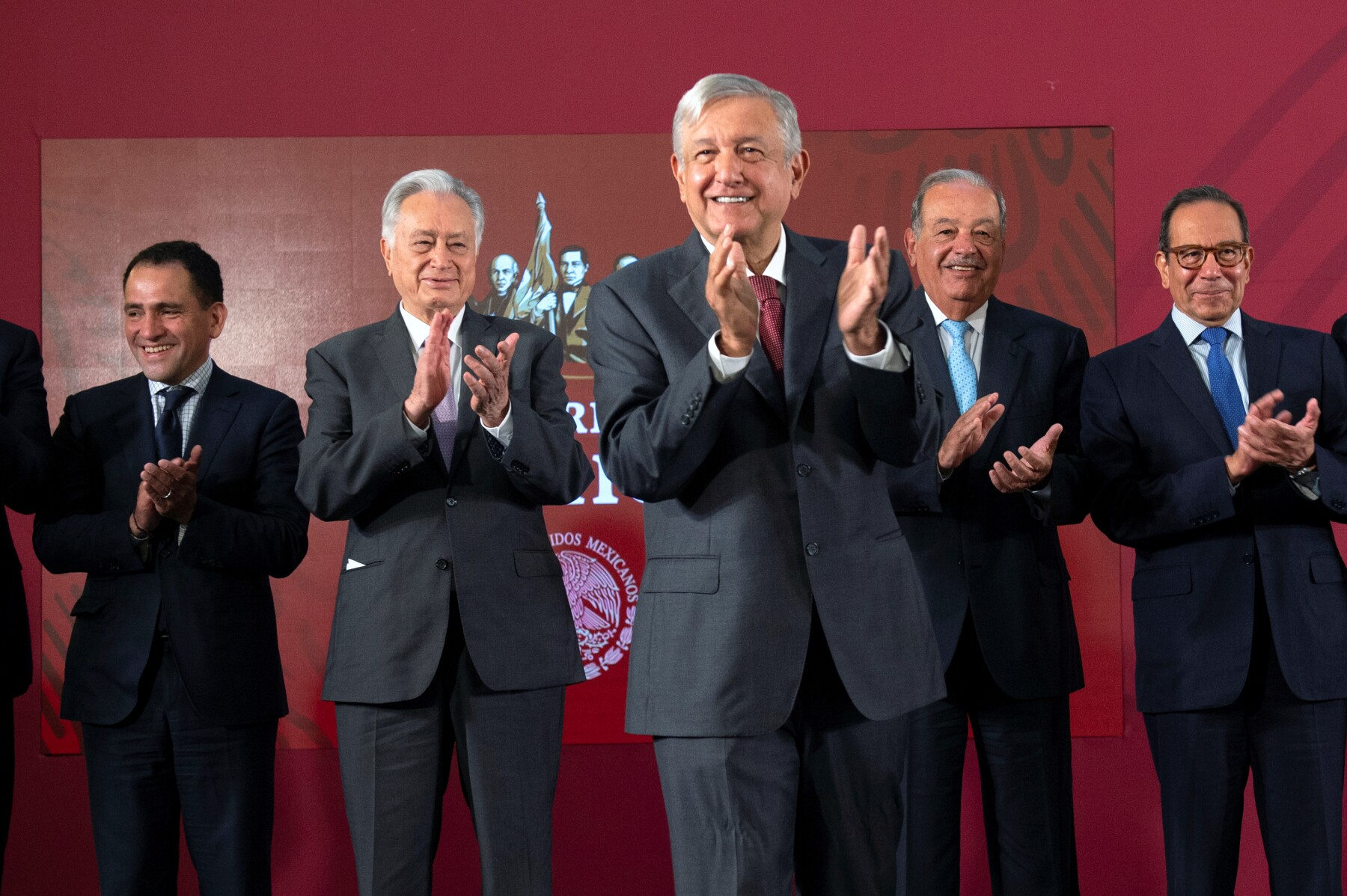Mexico's President Andres Manuel Lopez Obrador attends an event where the government reached a deal with companies to renegotiate the terms of natural gas pipeline contracts signed under the previous administration, in Mexico City
