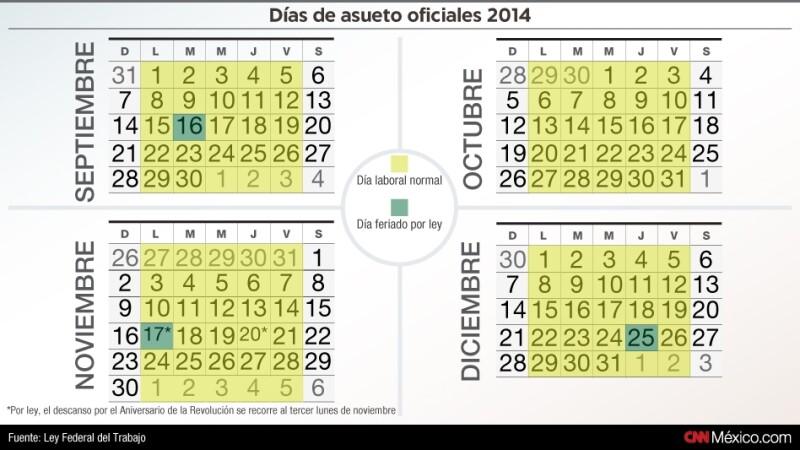 calendario, asuetos, 2014