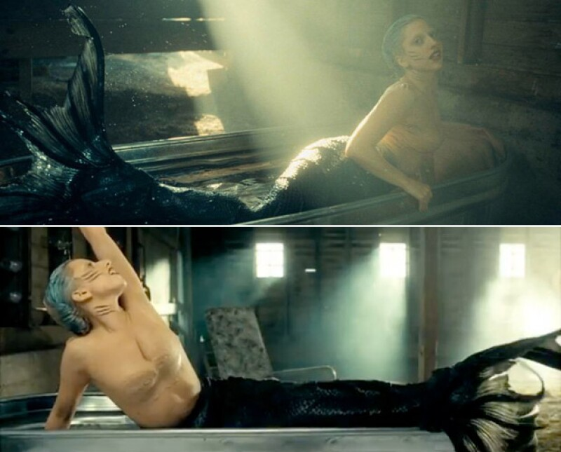 Escenas del video You and I, donde Gaga se caracterizó de sirena.