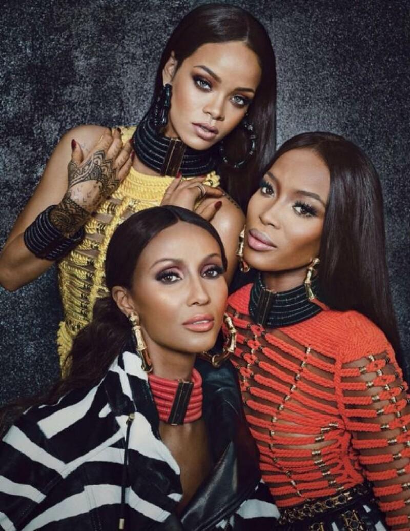La cantante posó con las supermodelos Naomi Campbell e Iman para vestirse con Balmain y engalanar el número de septiembre de W Magazine.