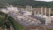 AERIAL: Modern power station facility using natural gas to produce electricity