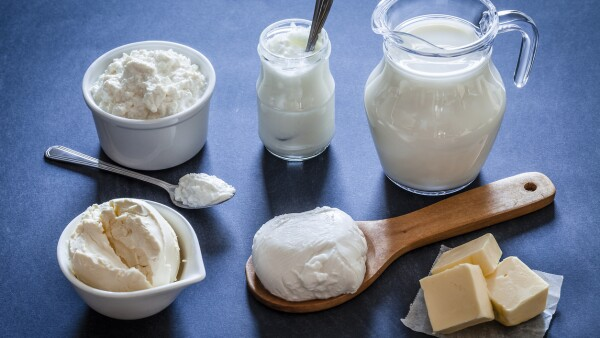 Dairy products shot on bluish tint kitchen table