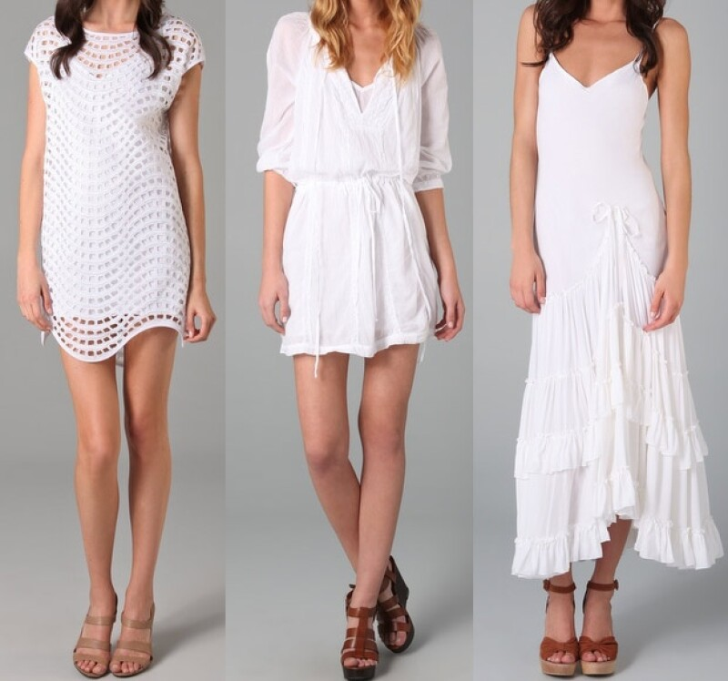 Thread Social, Velvet y Free People tienen varios modelos de vestidos blancos.