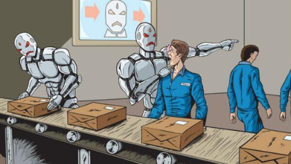 f�brica con robots y humanos
