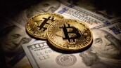 Golden Bitcoins Coins and dollar bills