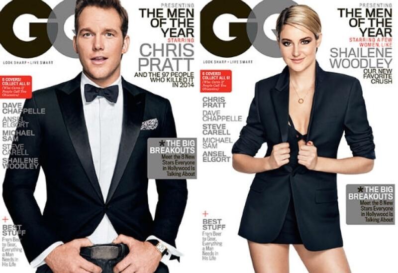 Los actores engalanan las portadas del ejemplar de diciembre de GQ, donde también forman parte de la lista de los galanes y las mujeres que figuraron en este 2014.