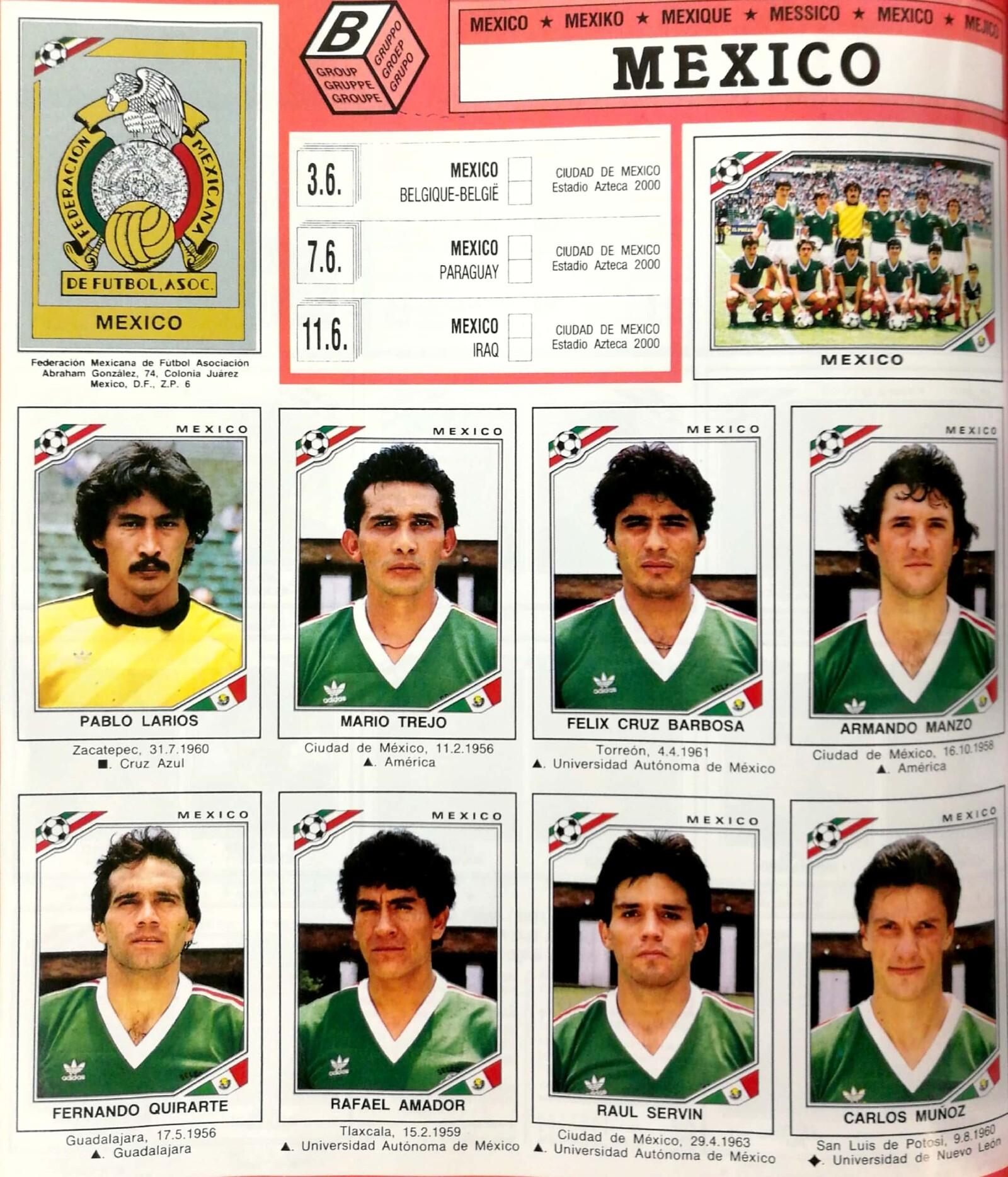 Álbum panini México 1986