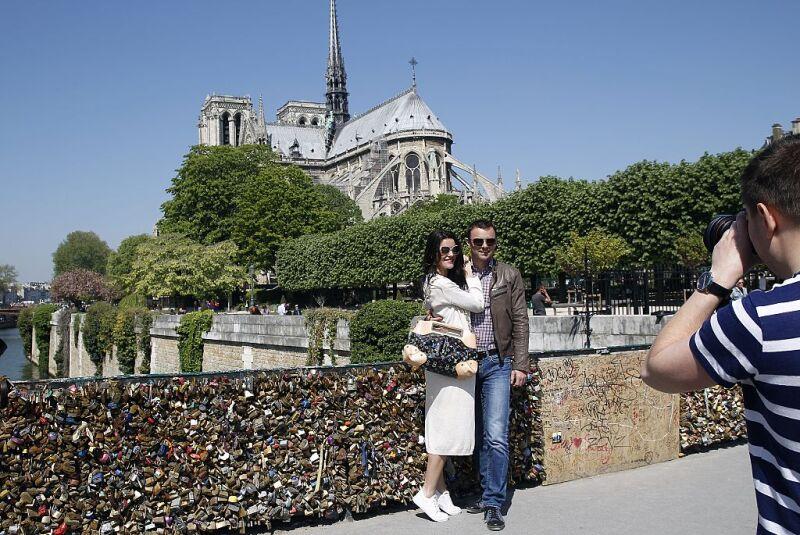 Tourists Visit Notre-Dame De Paris