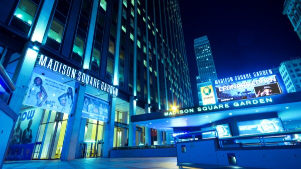 Low angle night shot of Madison Square Garden