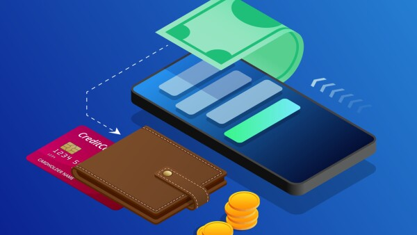 The concept of electronic Bills online payment, mobile payment, shopping, banking. Vector isometric illustration Payment Methods. Concepts web banner