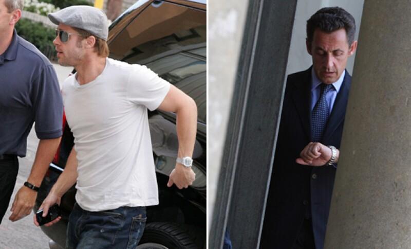 Tanto Brad Pitt como Nicolás Sarkozy fueron sorprendidos por sus esposas con lujosos relojes, y es que tienen cierto gusto por los relojes de marca.