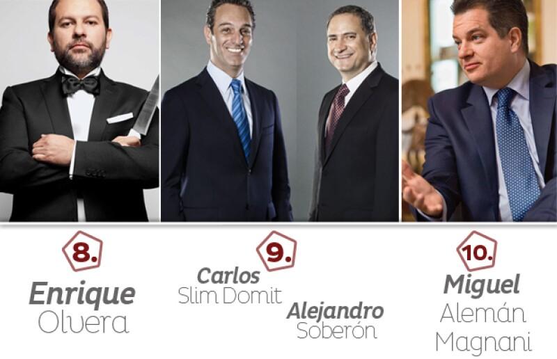 Enrique Olvera; Carlos Slim Domit y Alejandro Soberón; Miguel Alemán Magnani.