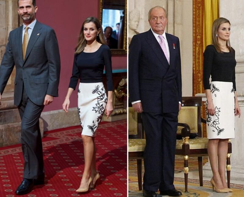 Esta mañana la reina de España lució un outfit que llevó el día de la abdicación de su suegro, Juan Carlos de España, también del diseñador Felipe Varela.