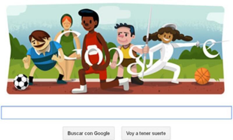 Además de los deportes que Google muestra en su doodle, los Olímpicos incluyen competencias de gimnasia. (Foto tomada de Google.com)