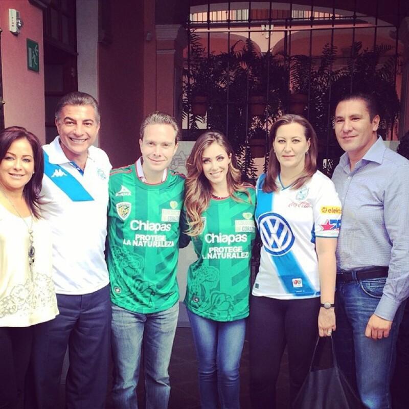 El día de ayer la actriz agradeció la invitación de la primera dama de Puebla, Martha Erika y su esposo a disfrutar el encuentro `Puebla vs Jaguares´en el estado.