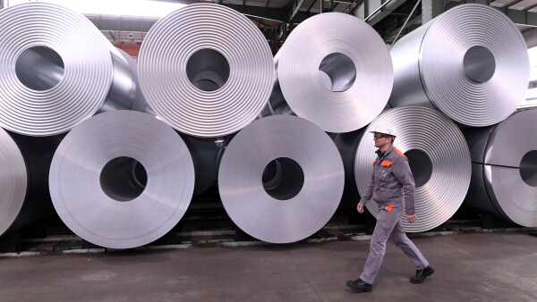 FILE PHOTO: Steel rolls are pictured at the plant of German steel company Salzgitter AG in Salzgitter