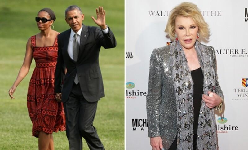 La pareja presidencial envió sus condolencias a Melissa Rivers, hija de la comediante que en el pasado los criticara.