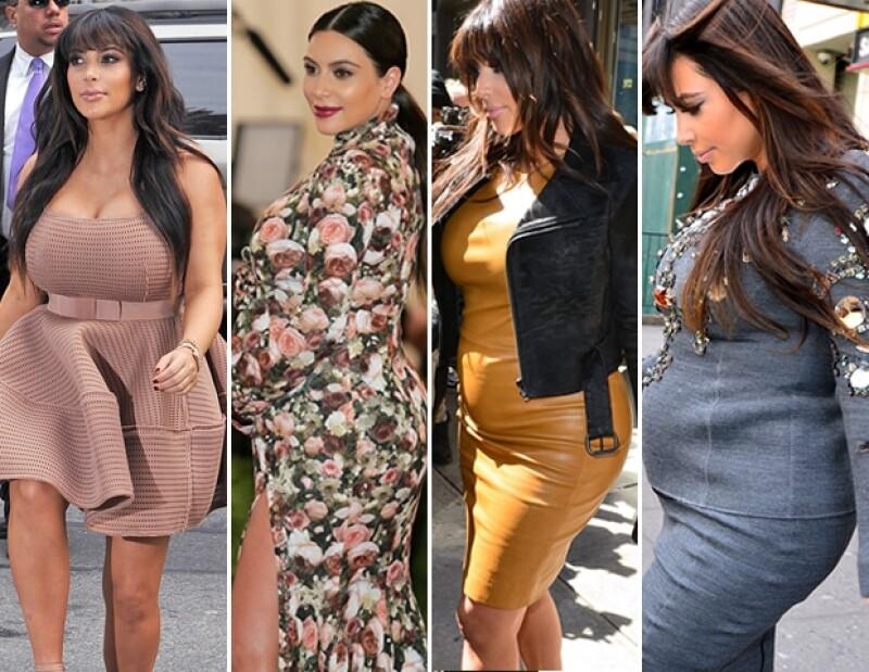 Las elecciones de Kim al vestir la hicieron ver mucho más voluminosa durante su embarazo.
