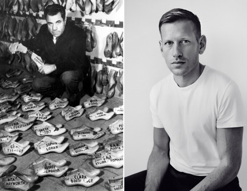 Ayer y Hoy: Salvatore Ferragamo (izq.) y el nuevo diseñador de calzado de mujer Paul Andrew (der.).