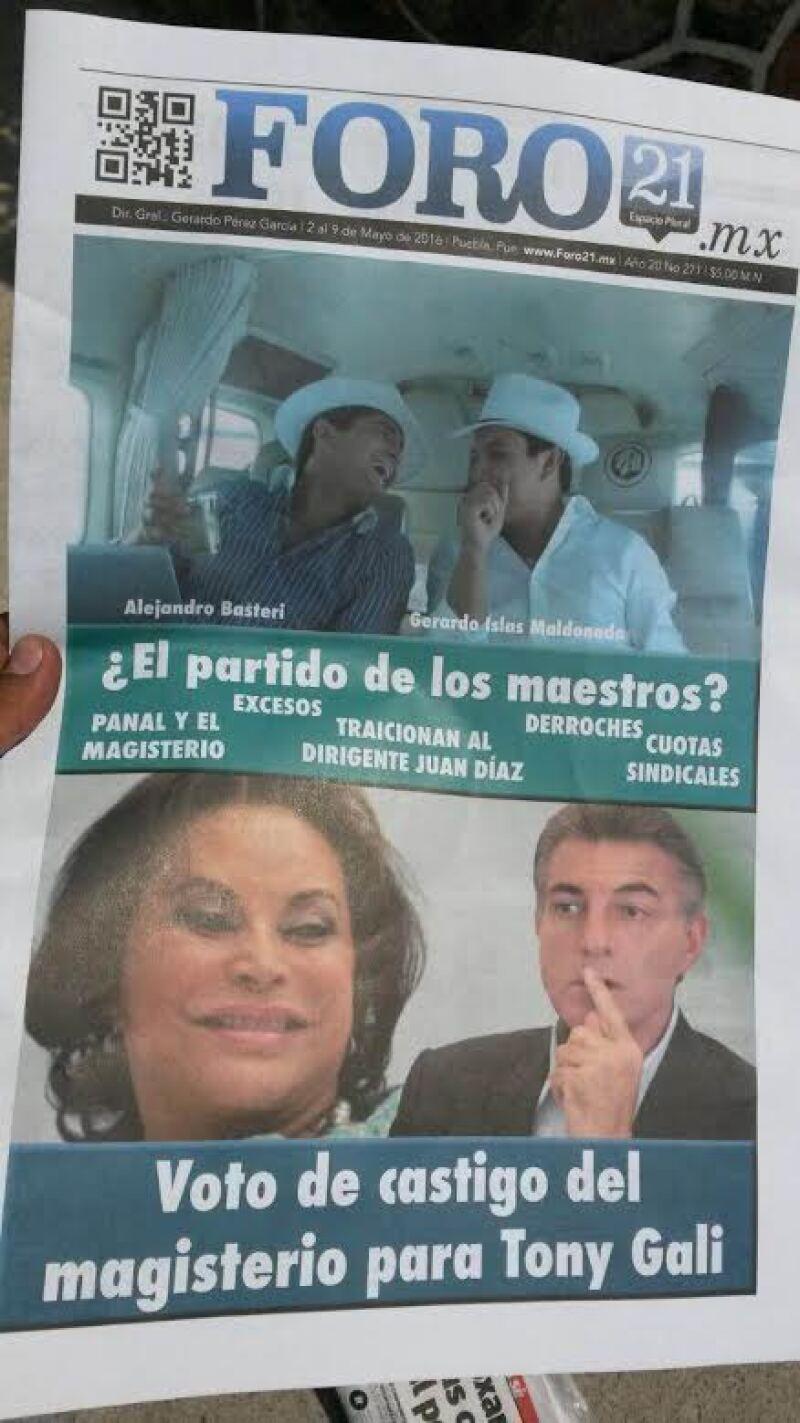 A través de estos panfletos, se pide voto de castigo al magisterio como al candidato de la coalición que encabeza el PAN, Antonio Gali.
