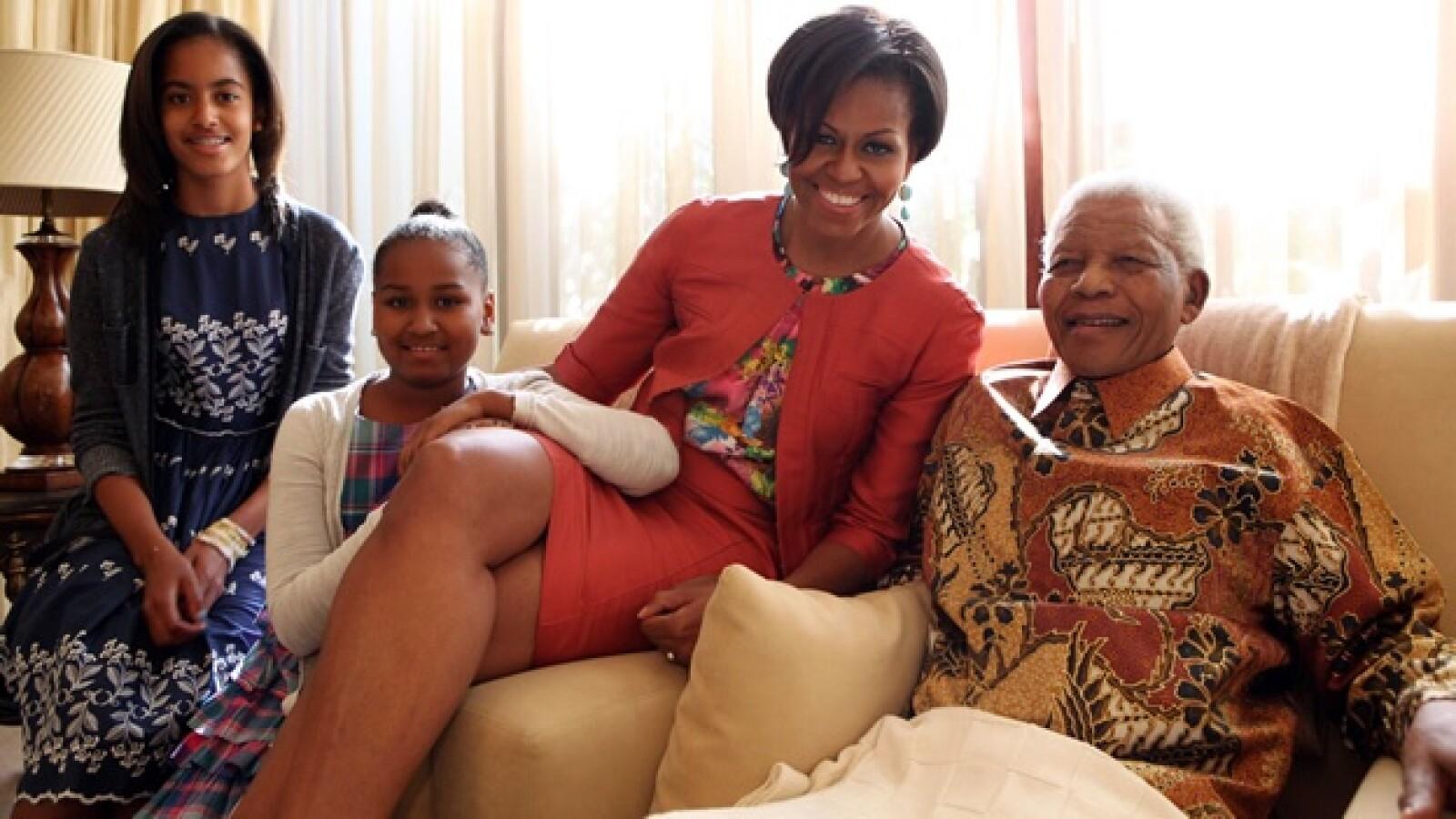 Michelle Obama - Nelson Mandela - niñas Obama