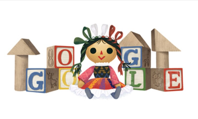 El doodle muestra una muñeca en medio de unos coloridos bloques de madera. (Foto: tomada de google.com)