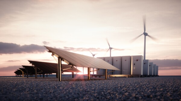 Dawn of new renewable energy technologies. Modern, aesthetic and efficient dark solar panel panels, a modular battery energy storage system and a wind turbine system in warm light. 3D rendering.