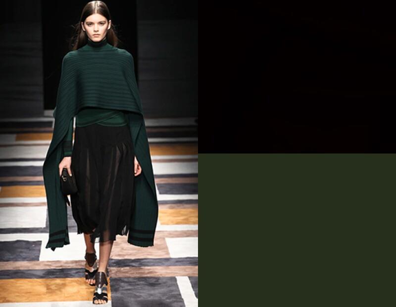 El verde puede ser difícil de combinar, pero haz como ferragamo y mézclalo con negro.