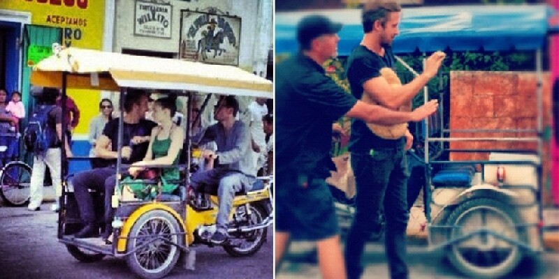 El actor se subió a uno de los clásicos triciclos junto a Michael Fassbender y Rooney Mara.
