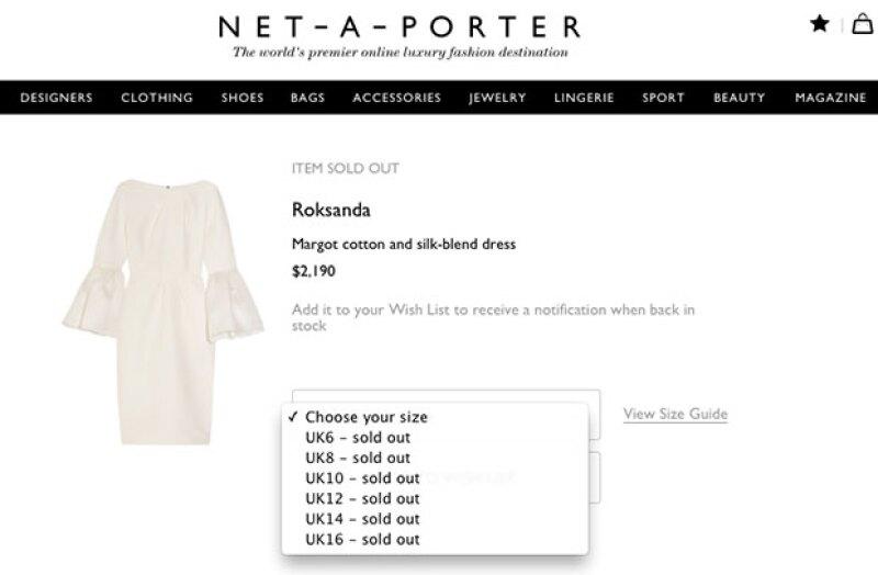 El vestido está agotado del sitio Net-a-Porter.