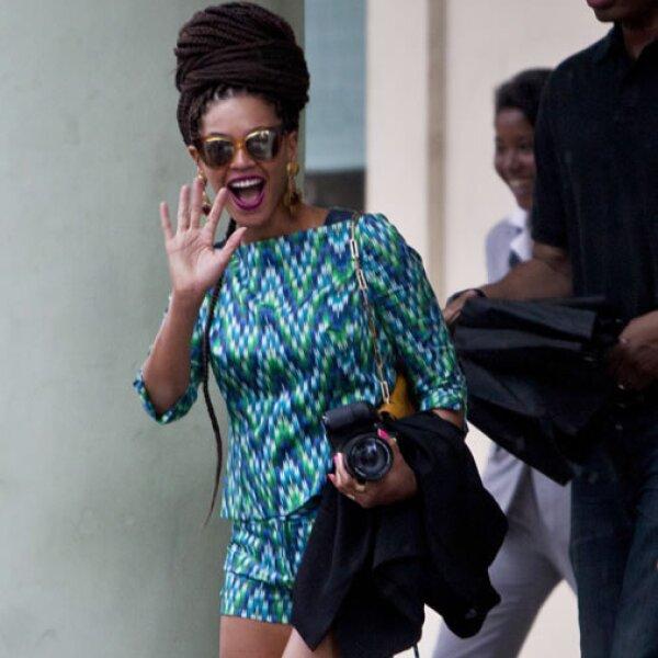 De acuerdo con testigos Beyoncé se mostró muy sencilla y por lo visto estaba muy feliz en sus vacaciones.