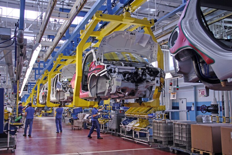 Modern vehicles on the production line