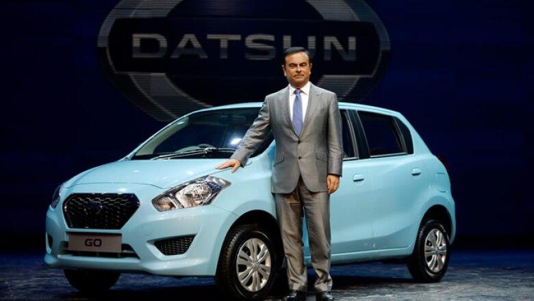 Carlos Ghosn, Presidente y CEO de la Alianza Renault-Nissan presentó en Nueva Delhi el nuevo modelo Natsun Go que se venderá en India el próximo año.