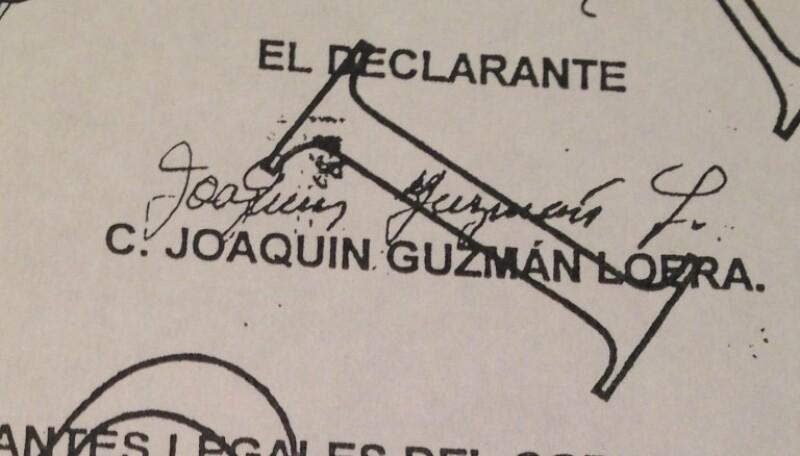 La firma de Guzmán Loera se puede ver en este testimonio de la audiencia del 2000.