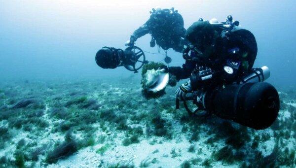 Buzos analizan la vida marina cerca del drenaje.
