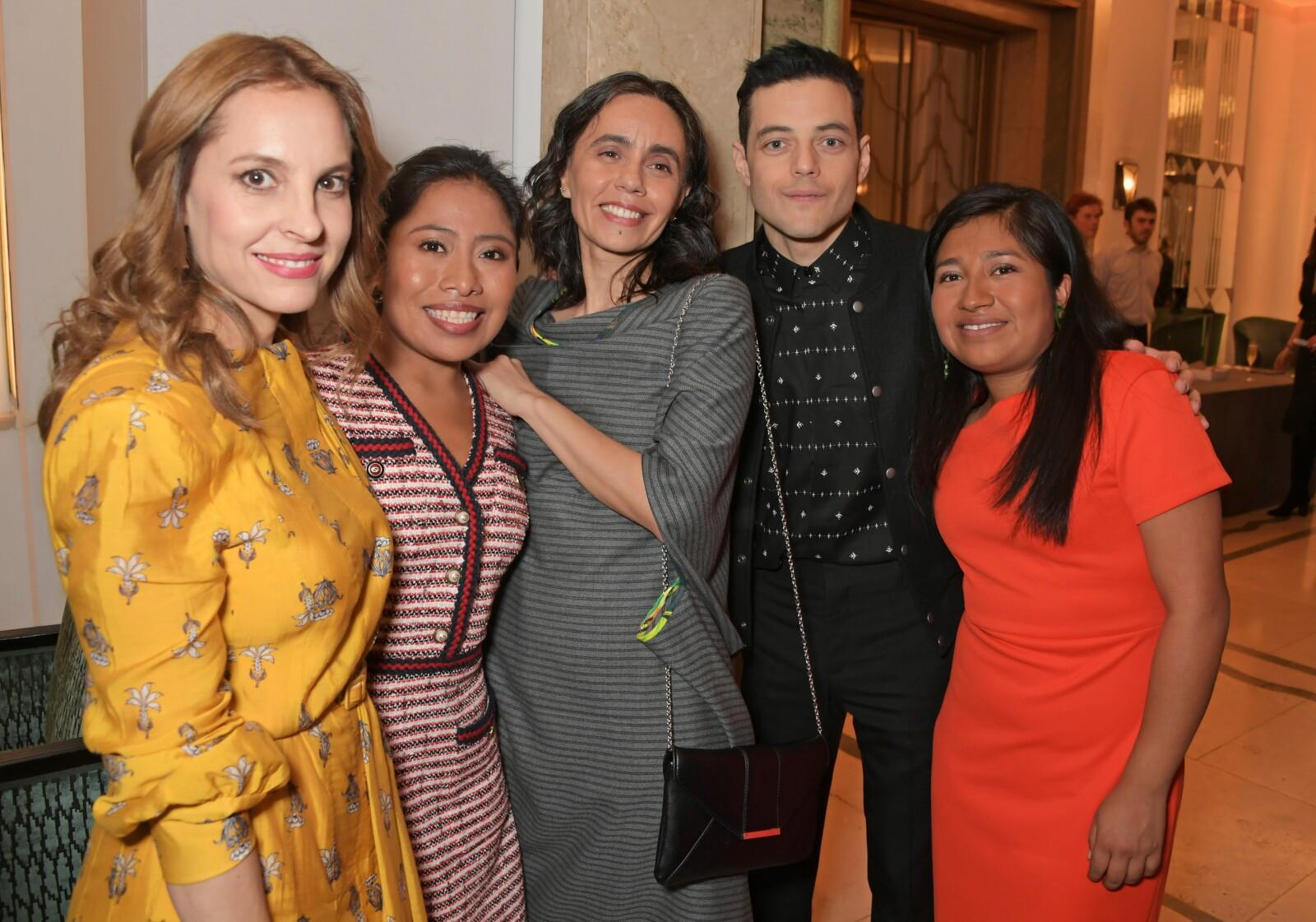 Marina de Tavira, Yalitza Aparicio, Barbara Enriquez, Rami Malek y Nancy Garcia García