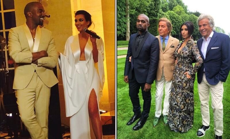 Si bien la boda de Kardashian con el rapero West fue de ensueño, la pareja descubrió un mundo deslumbrante al acudir a un brunch con el diseñador italiano, Valentino.