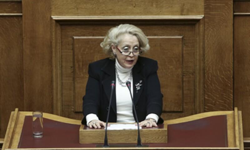 Vassiliki Thanou es la primera mujer en ocupar ese puesto en el país, aunque lo hará por un periodo breve. (Foto: Reuters)