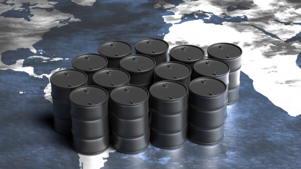Oil barrels black color on world map background. 3d illustration