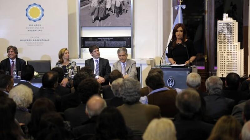 La presidenta argentina, Cristina Fernández, durante la designación del gerente de YPF