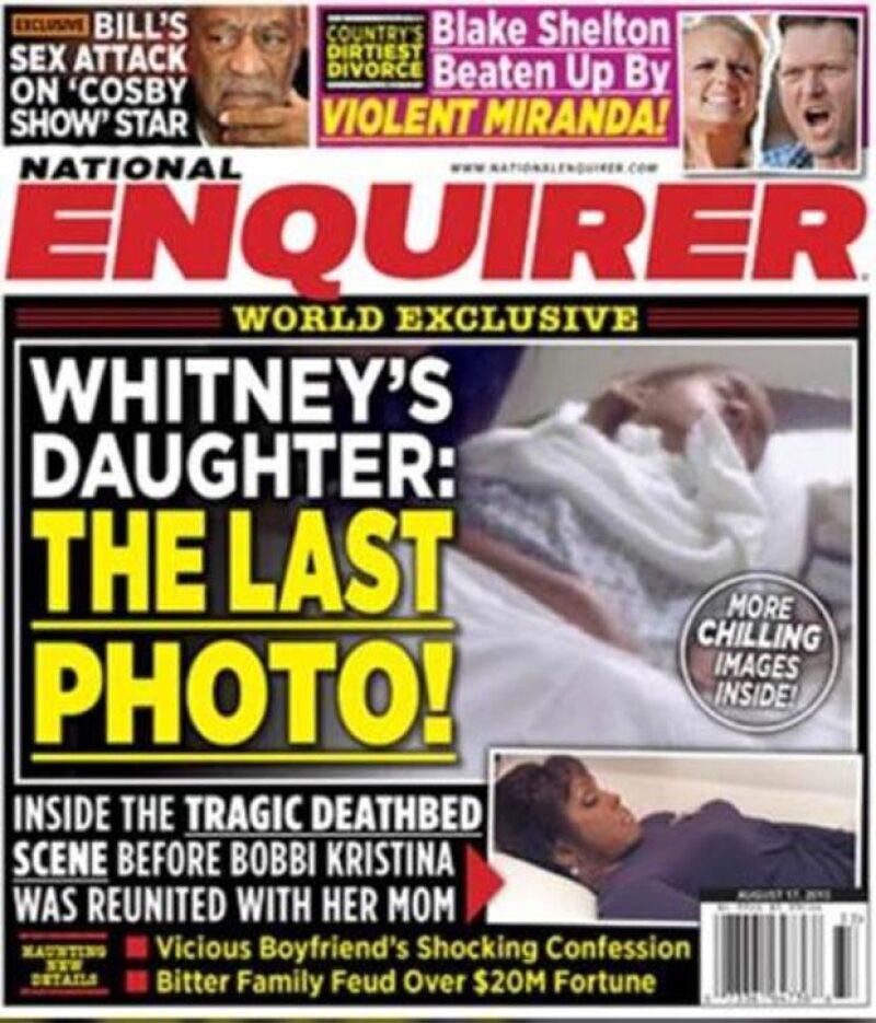 The National Enquirer publicó en portada una imagen que le tomaron a la hija de Whitney Houston en su lecho de muerte.