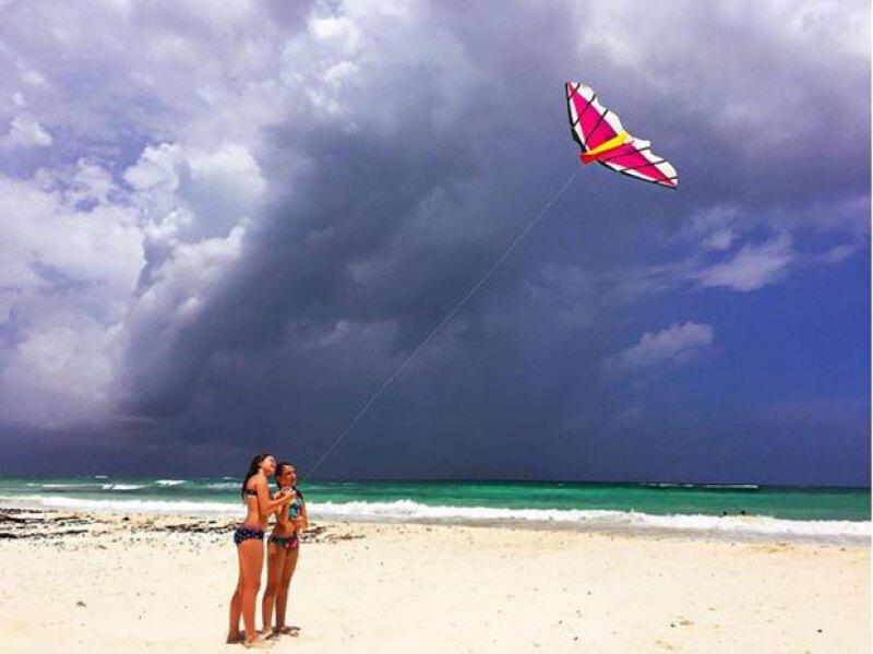Mía y Nina disfrutaron de la paradisiaca Riviera Maya antes de las lluvias y vientos que trajo la tormenta.
