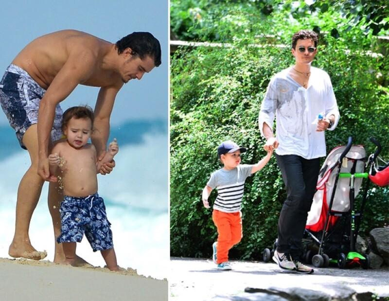 Izquierda: Orlando y Flynn durante su visita a Cancún para acompañar a Miranda a un evento de trabajo. Derecha: Orlando lleva a su hijo a pasear.
