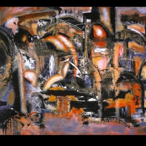 """Desde que decidió a dedicarse a la pintura, hace unos 6 años, sus cuadros se inspiraban en objetos cotidianos. """"Pasión locomotora"""", 2004, acrílico sobre tela, 1.00 x 1.50 m"""